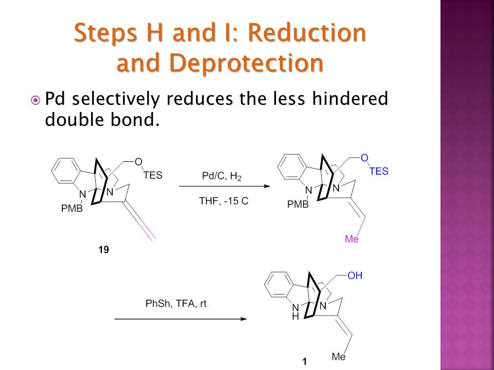  Pd selectively reduces the less hindered double bond.