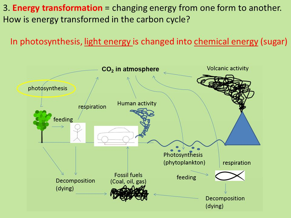 3. Energy transformation = changing energy from one form to another.