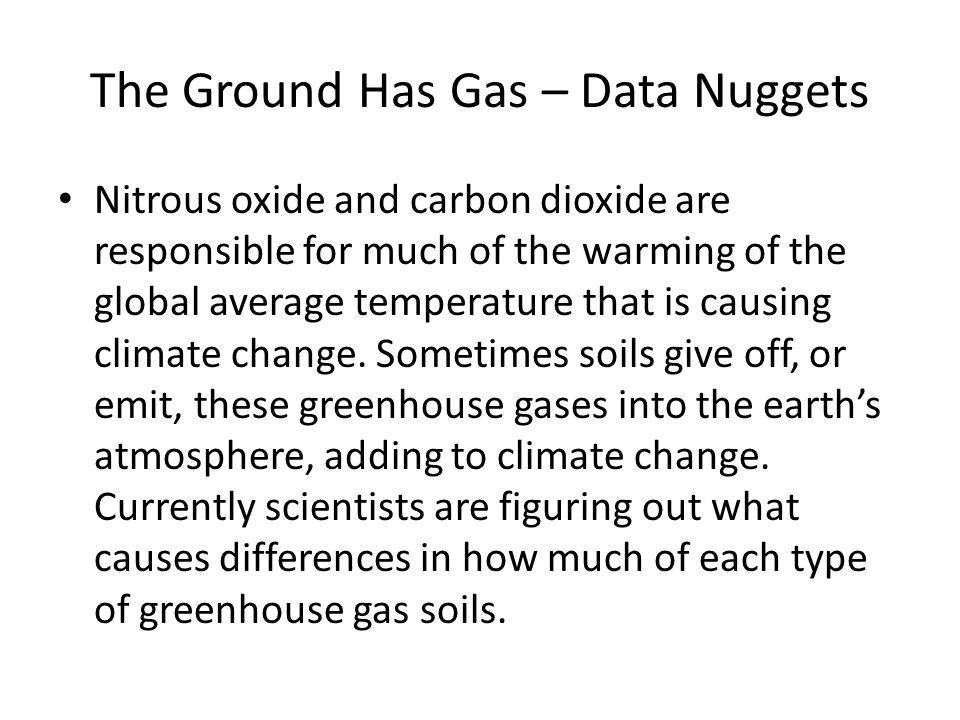 The Ground Has Gas – Data Nuggets Nitrous oxide and carbon dioxide are responsible for much of the warming of the global average temperature that is causing climate change.