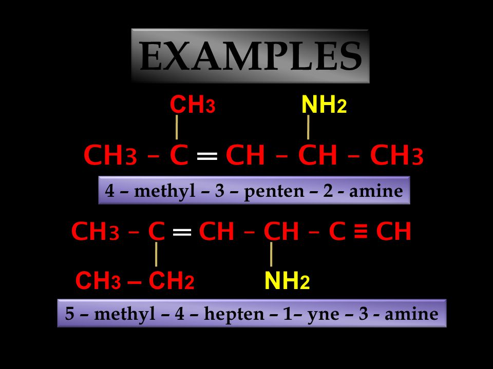 EXAMPLES NH 2 cyclopentanamine NH 2 CH 3 2 – methyl – cyclopentanamine NH 2 Cl 2,4,6 – trichloro – cyclohexanamine