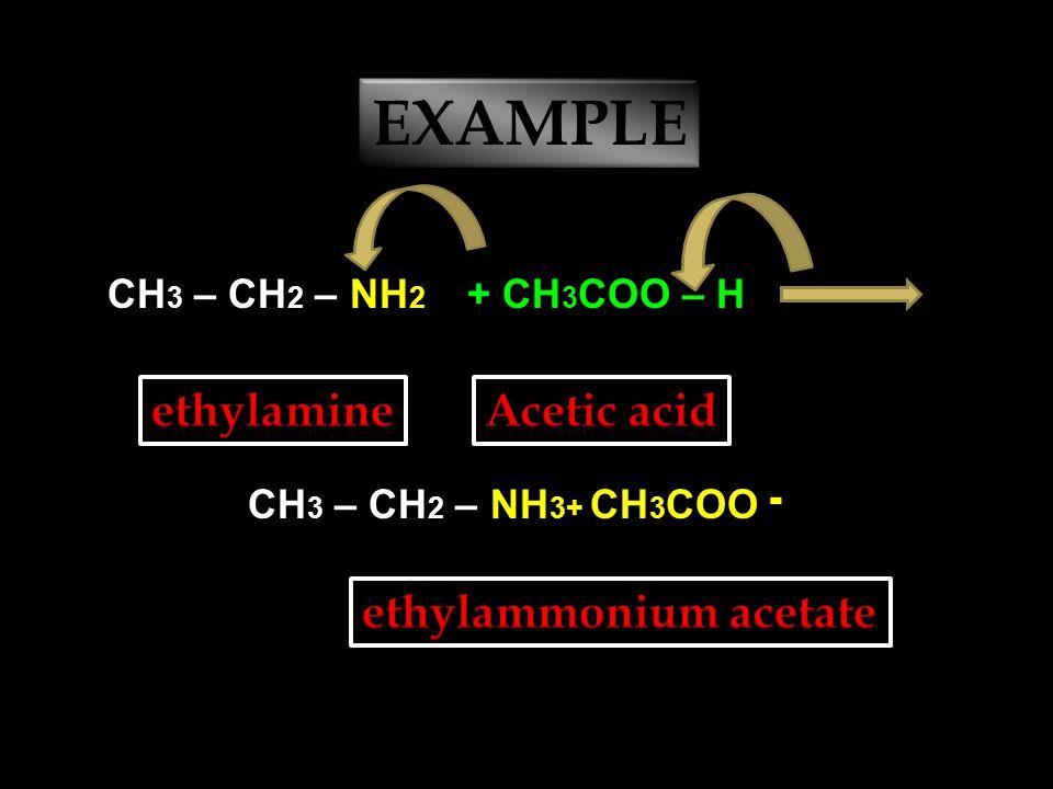AMINE + Acid --- → Amine salt CH 3 – NH 2 + H – ClCH 3 – NH 3+ Cl ־