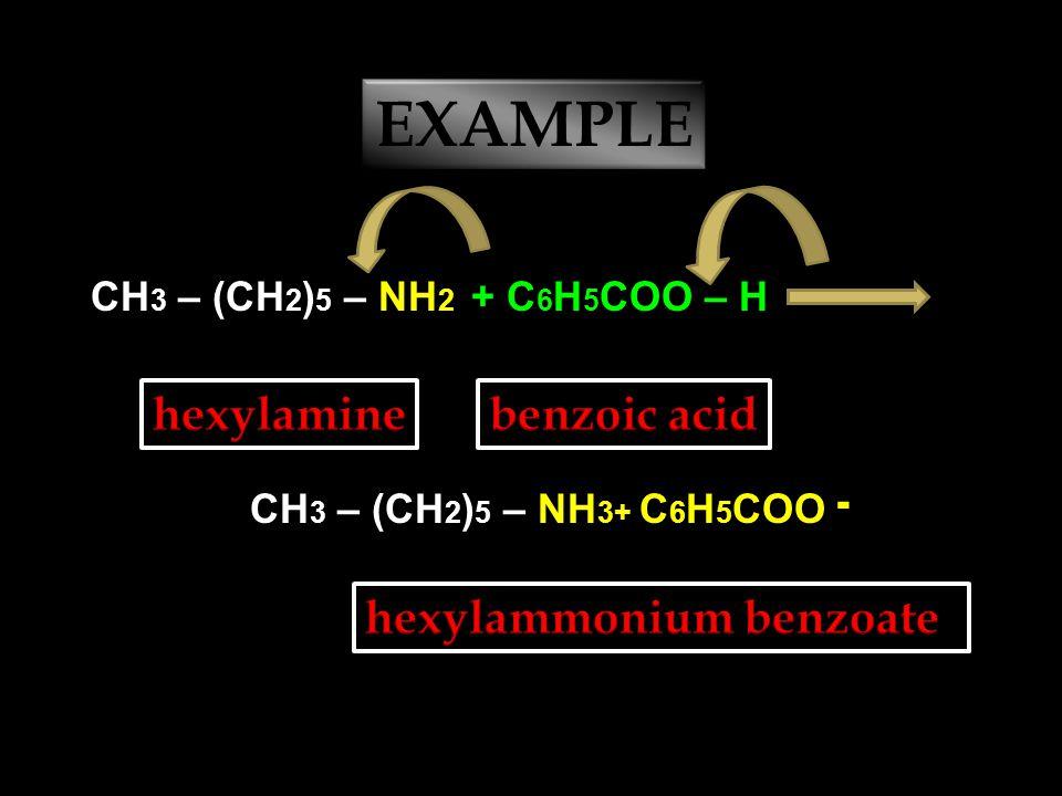 EXAMPLE CH 3 – CH 2 – NH 2 + CH 3 COO – H CH 3 – CH 2 – NH 3+ CH 3 COO ־