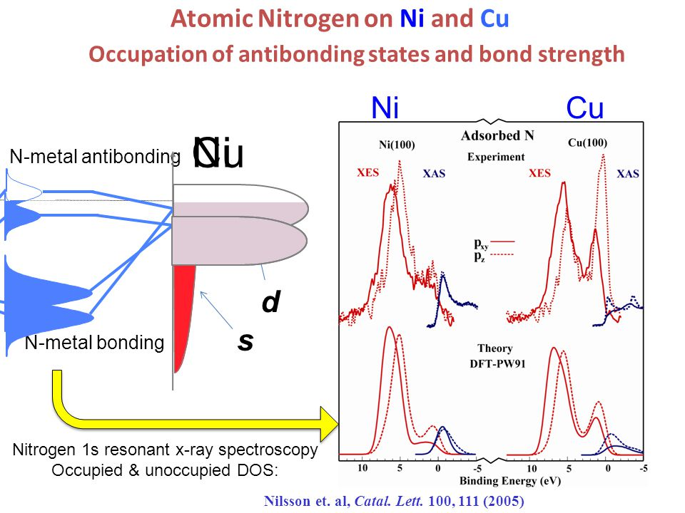 N-metal antibonding Atomic Nitrogen on Ni and Cu Nilsson et.