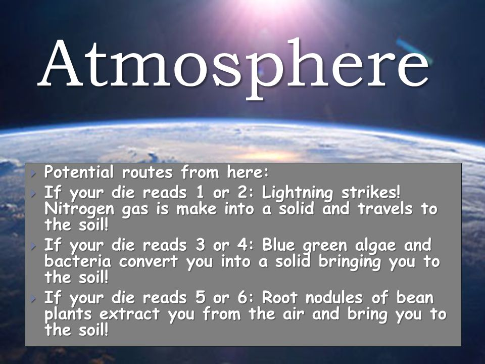 Atmosphere  Potential routes from here:  If your die reads 1 or 2: Lightning strikes.