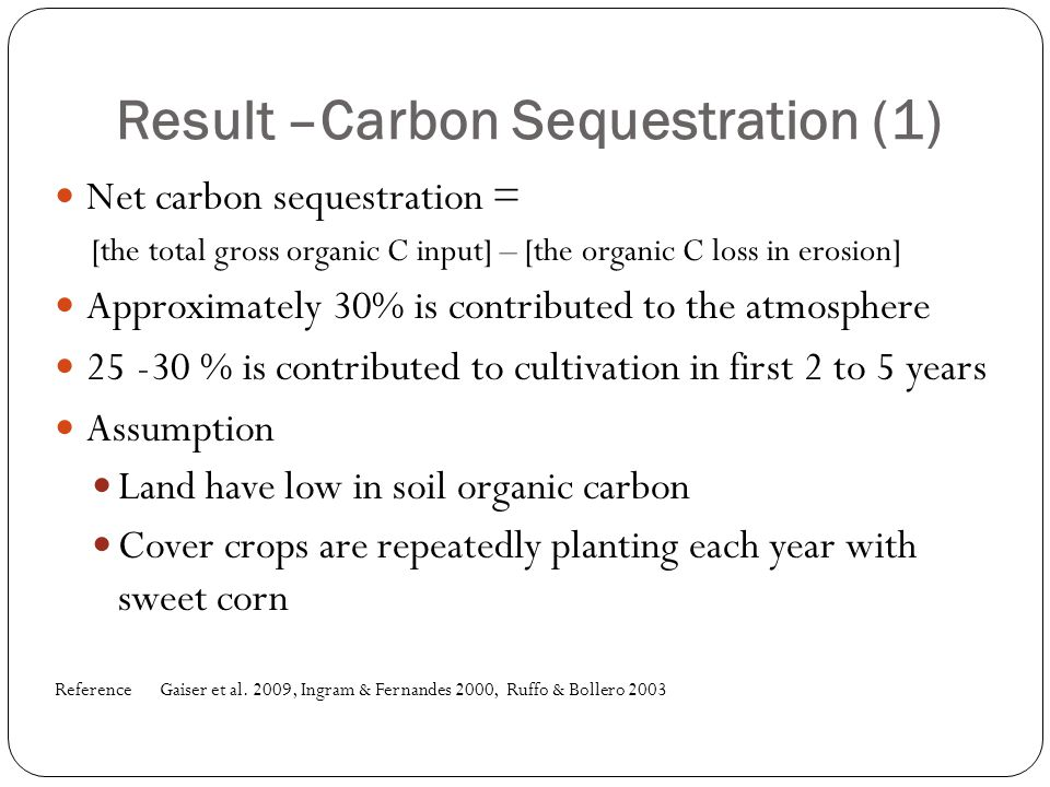 Result –Carbon Sequestration (1) Net carbon sequestration = [the total gross organic C input] – [the organic C loss in erosion] Approximately 30% is c