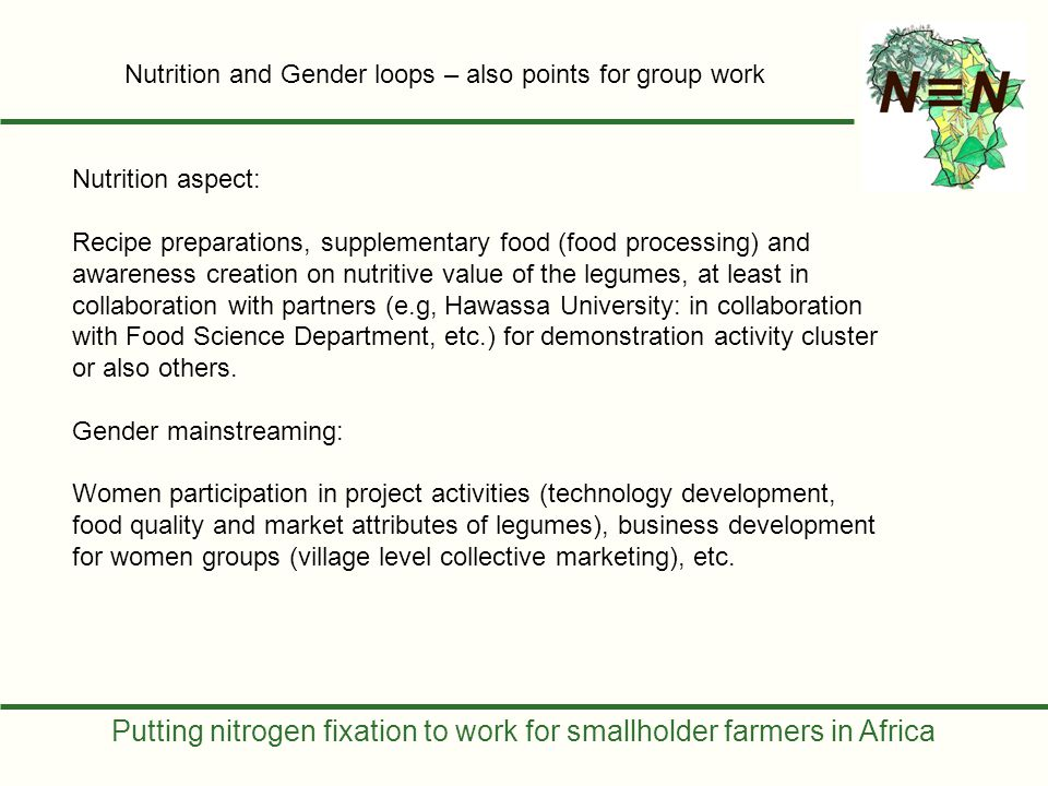 Putting nitrogen fixation to work for smallholder farmers in Africa Nutrition aspect: Recipe preparations, supplementary food (food processing) and aw