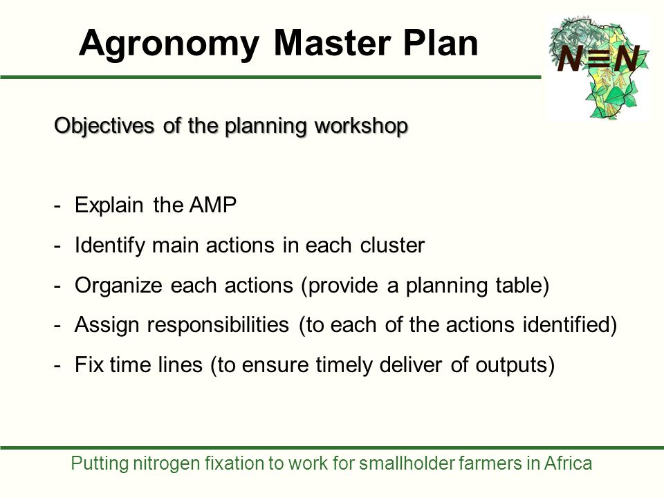 Putting nitrogen fixation to work for smallholder farmers in Africa Objectives of the planning workshop -Explain the AMP -Identify main actions in each cluster -Organize each actions (provide a planning table) -Assign responsibilities (to each of the actions identified) -Fix time lines (to ensure timely deliver of outputs) Agronomy Master Plan