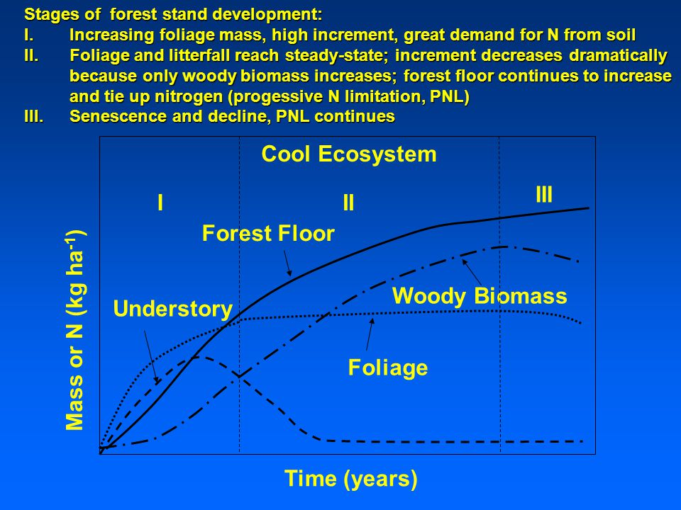 Cool Ecosystem Understory Forest Floor Foliage Woody Biomass Mass or N (kg ha -1 ) Time (years) III III Stages of forest stand development: I.Increasing foliage mass, high increment, great demand for N from soil II.Foliage and litterfall reach steady-state; increment decreases dramatically because only woody biomass increases; forest floor continues to increase and tie up nitrogen (progessive N limitation, PNL) III.Senescence and decline, PNL continues
