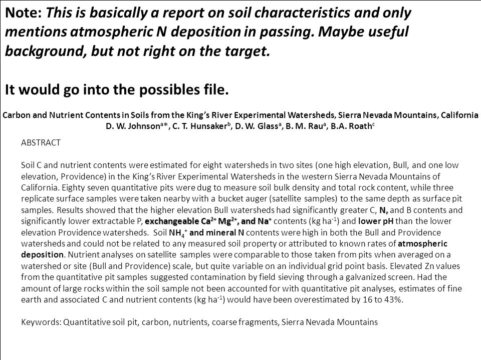 Johnson 1985 (Sulfur) Well cited, projects sulfur associated with acid rain research Review for symposium and new journal (Biogeochemistry) Johnson 2006 (N and CO2) Invited post-script for CO2 work Nice compliments, no followup as yet And so on.
