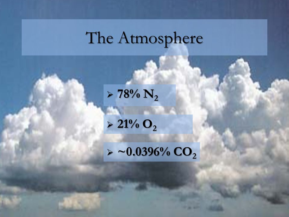The Atmosphere  78% N 2  21% O 2  ~0.0396% CO 2
