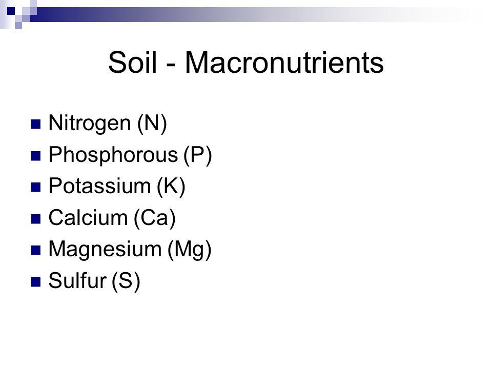 Soil - Macronutrients Nitrogen (N) Phosphorous (P) Potassium (K) Calcium (Ca) Magnesium (Mg) Sulfur (S)