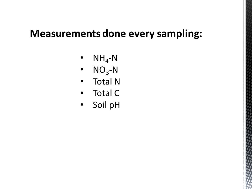 Measurements done every sampling: NH 4 -N NO 3 -N Total N Total C Soil pH