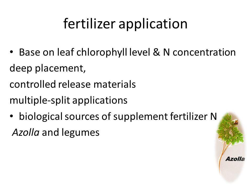 fertilizer application Base on leaf chlorophyll level & N concentration deep placement, controlled release materials multiple-split applications biolo
