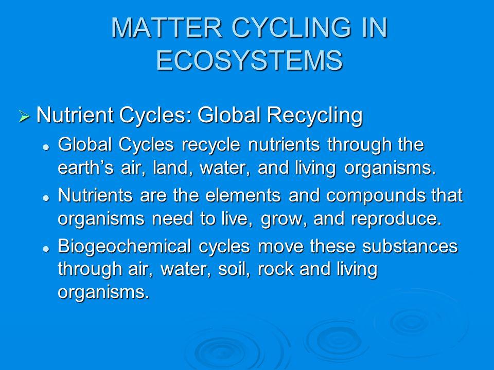 MATTER CYCLING IN ECOSYSTEMS  Nutrient Cycles: Global Recycling Global Cycles recycle nutrients through the earth's air, land, water, and living orga