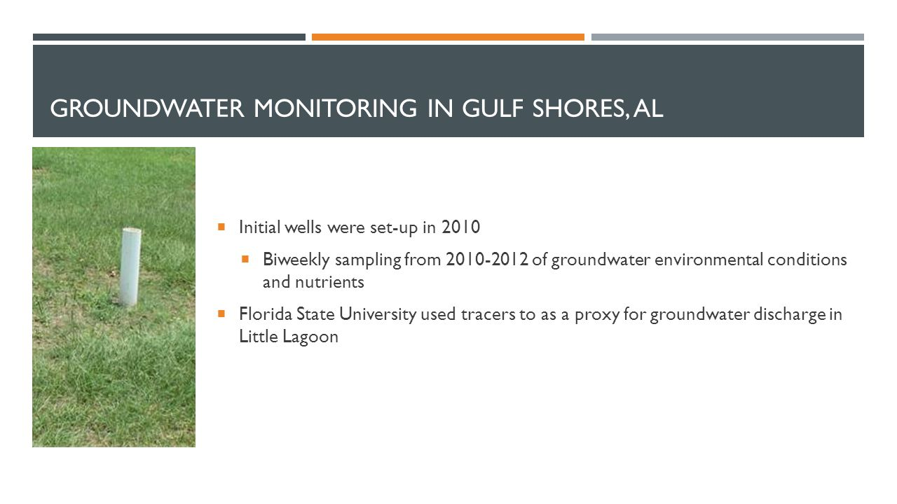 GROUNDWATER MONITORING IN GULF SHORES, AL  Initial wells were set-up in 2010  Biweekly sampling from 2010-2012 of groundwater environmental conditio