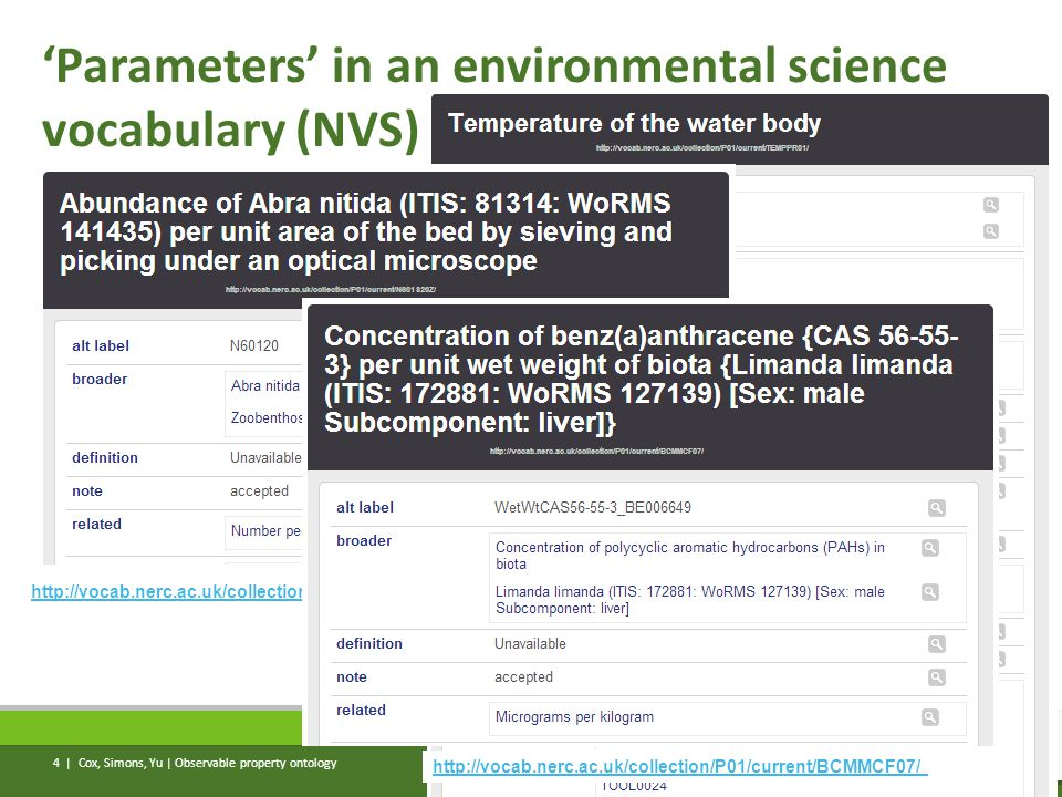 'Parameters' in an environmental science vocabulary (NVS) Cox, Simons, Yu | Observable property ontology 4 | http://vocab.nerc.ac.uk/collection/P01/current/N601S20Z/ http://vocab.nerc.ac.uk/collection/P01/current/BCMMCF07/