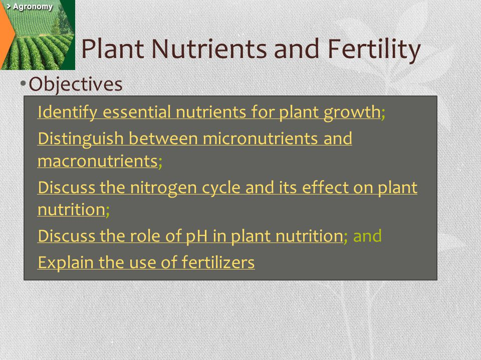 Plant Nutrients and Fertility Objectives Identify essential nutrients for plant growth; Identify essential nutrients for plant growth Distinguish between micronutrients and macronutrients; Distinguish between micronutrients and macronutrients Discuss the nitrogen cycle and its effect on plant nutrition; Discuss the nitrogen cycle and its effect on plant nutrition Discuss the role of pH in plant nutrition; and Discuss the role of pH in plant nutrition Explain the use of fertilizers