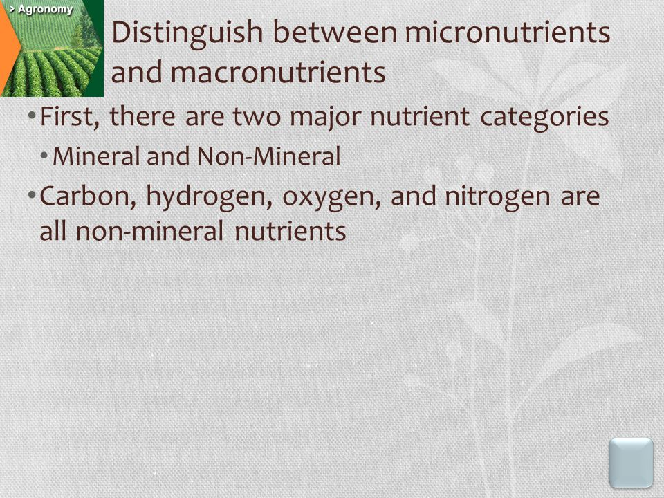 Distinguish between micronutrients and macronutrients First, there are two major nutrient categories Mineral and Non-Mineral Carbon, hydrogen, oxygen,