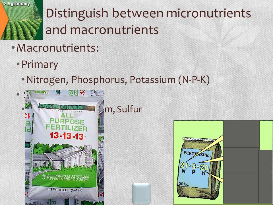 Macronutrients: Primary Nitrogen, Phosphorus, Potassium (N-P-K) Secondary Calcium, Magnesium, Sulfur Distinguish between micronutrients and macronutri
