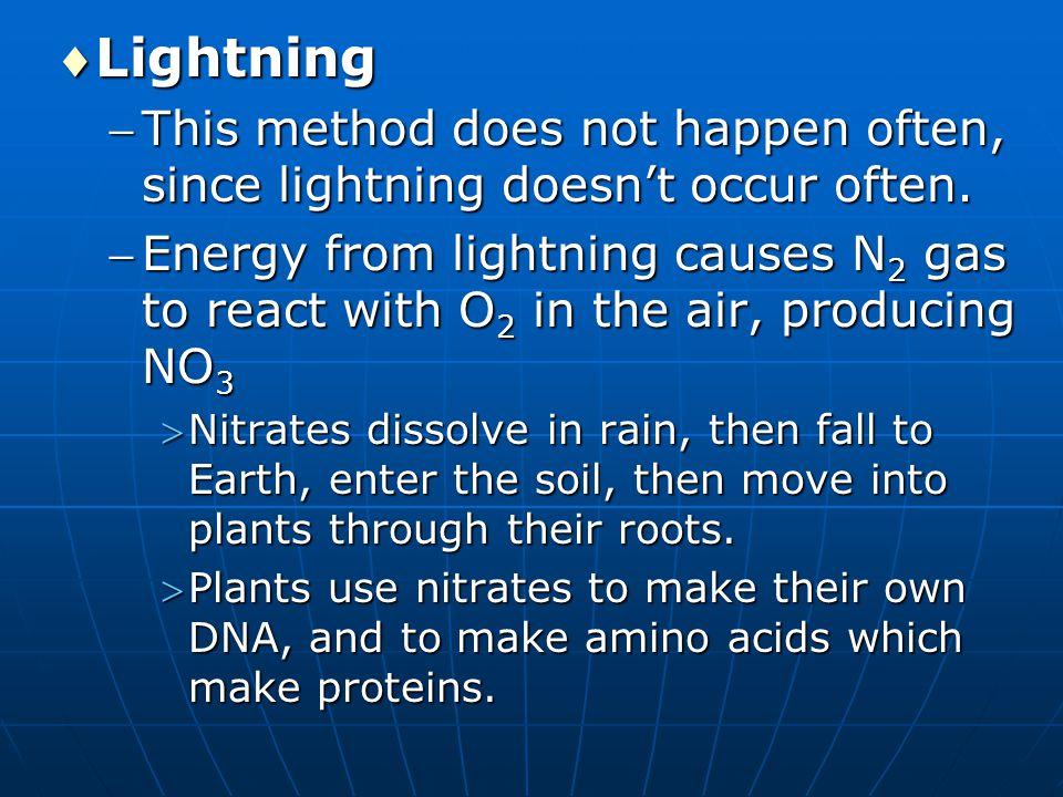 Lightning This method does not happen often, since lightning doesn't occur often.
