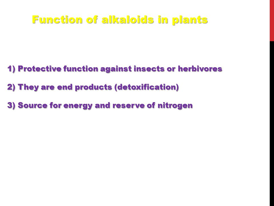 1) Protective function against insects or herbivores 2) They are end products (detoxification) 3) Source for energy and reserve of nitrogen Function o