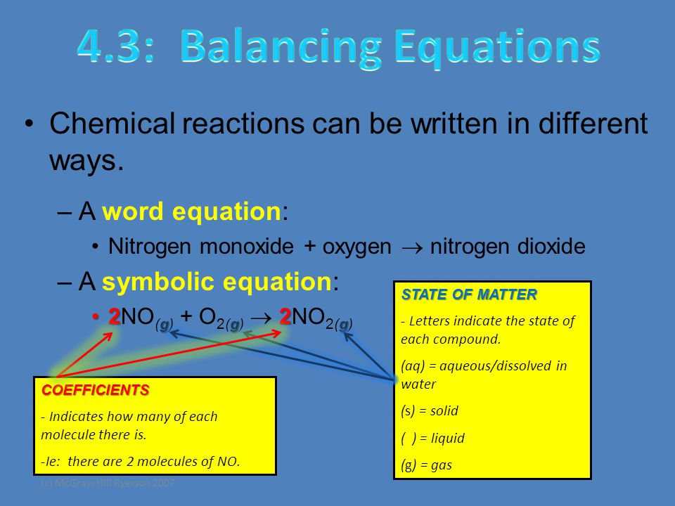 (c) McGraw Hill Ryerson 2007 Chemical reactions can be written in different ways.