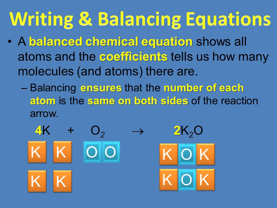 balanced chemical equation coefficientsA balanced chemical equation shows all atoms and the coefficients tells us how many molecules (and atoms) there are.