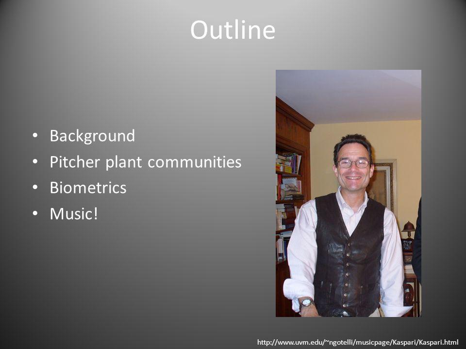 Outline Background Pitcher plant communities Biometrics Music.