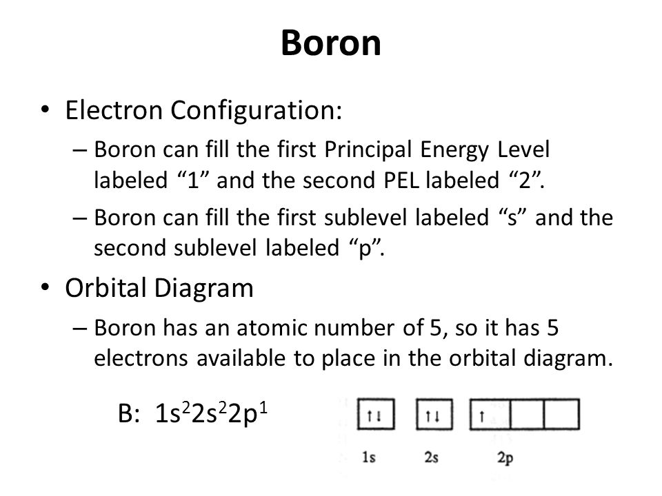 "Boron Electron Configuration: – Boron can fill the first Principal Energy Level labeled ""1"" and the second PEL labeled ""2"". – Boron can fill the first"