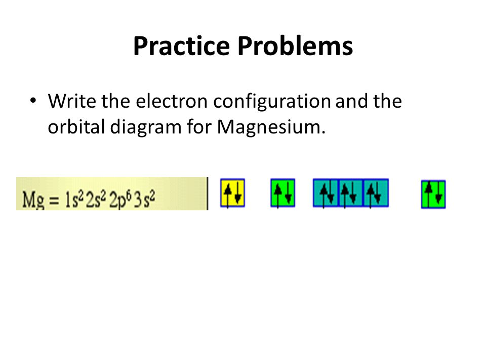 Practice Problems Write the electron configuration and the orbital diagram for Magnesium.