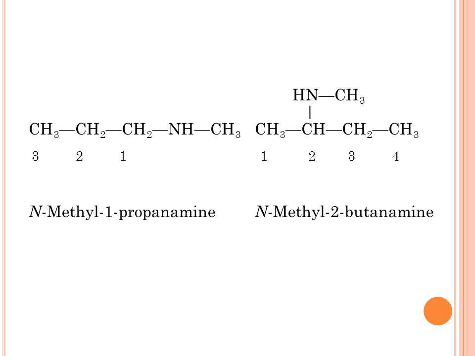 HN—CH 3 | CH 3 —CH 2 —CH 2 —NH—CH 3 CH 3 —CH—CH 2 —CH 3 3 2 1 1 2 3 4 N -Methyl-1-propanamine N -Methyl-2-butanamine