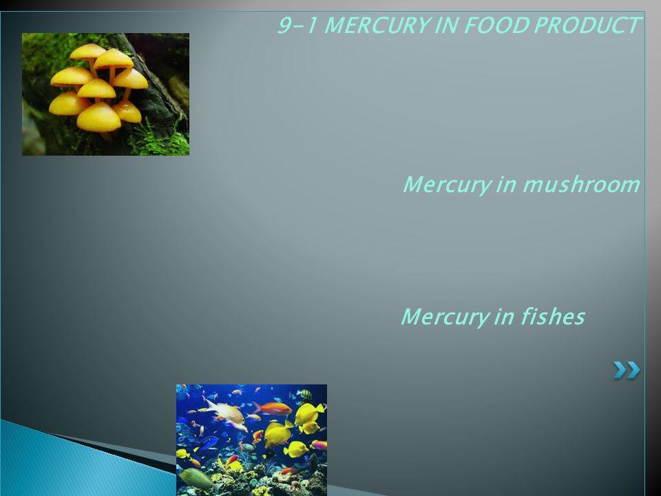 9-1 MERCURY IN FOOD PRODUCT Mercury in mushroom Mercury in fishes