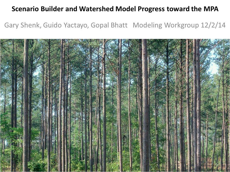 Scenario Builder and Watershed Model Progress toward the MPA Gary Shenk, Guido Yactayo, Gopal Bhatt Modeling Workgroup 12/2/14 1