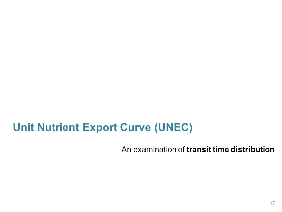 Unit Nutrient Export Curve (UNEC) An examination of transit time distribution 17