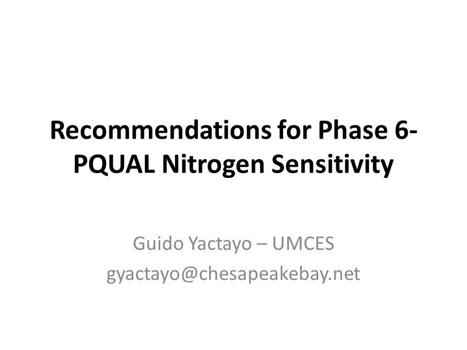 Recommendations for Phase 6- PQUAL Nitrogen Sensitivity Guido Yactayo – UMCES gyactayo@chesapeakebay.net