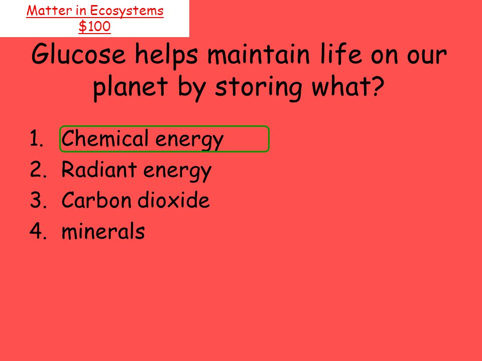 Glucose helps maintain life on our planet by storing what? Matter in Ecosystems $100 1.Chemical energy 2.Radiant energy 3.Carbon dioxide 4.minerals