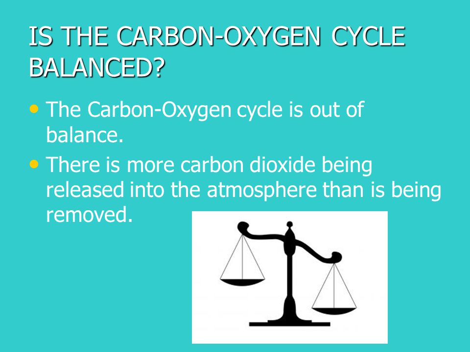 IS THE CARBON-OXYGEN CYCLE BALANCED? The Carbon-Oxygen cycle is out of balance. There is more carbon dioxide being released into the atmosphere than i