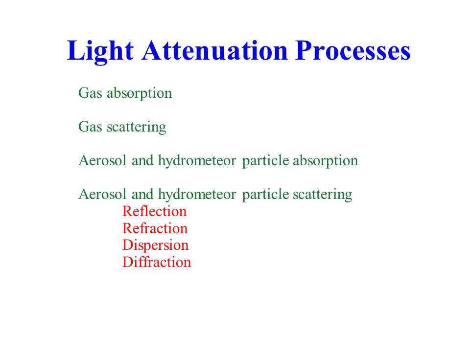 Light Attenuation Processes Gas absorption Gas scattering Aerosol and hydrometeor particle absorption Aerosol and hydrometeor particle scattering Reflection Refraction Dispersion Diffraction