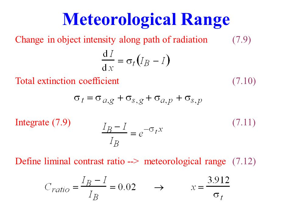 Meteorological Range Change in object intensity along path of radiation(7.9) Total extinction coefficient(7.10) Integrate (7.9) (7.11) Define liminal
