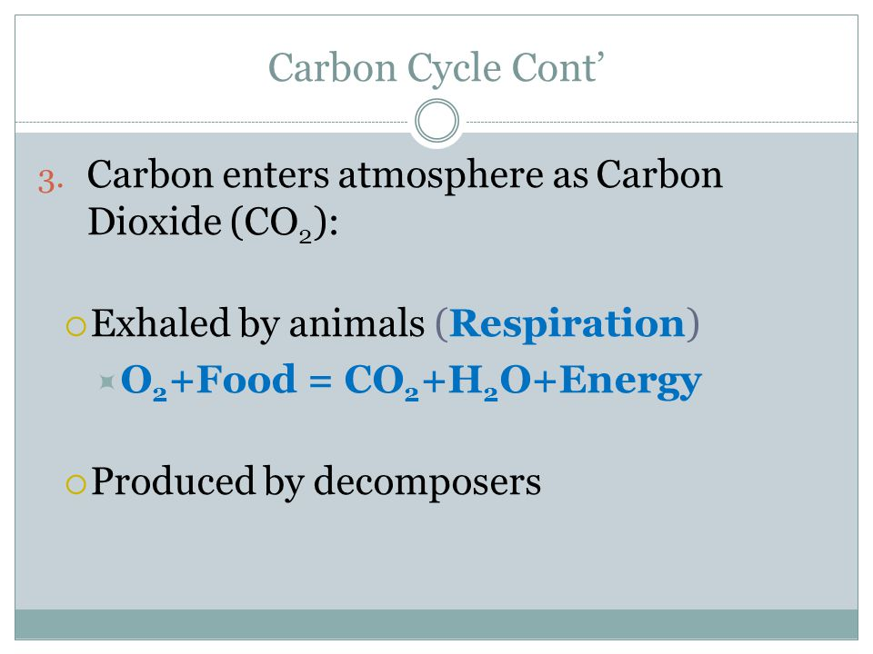 Carbon Cycle Cont' 2. Carbon is changed into different compounds as it goes through the cycle  CH 4 = Methane Gas  CO 2 = Carbon Dioxide  C 6 H 12
