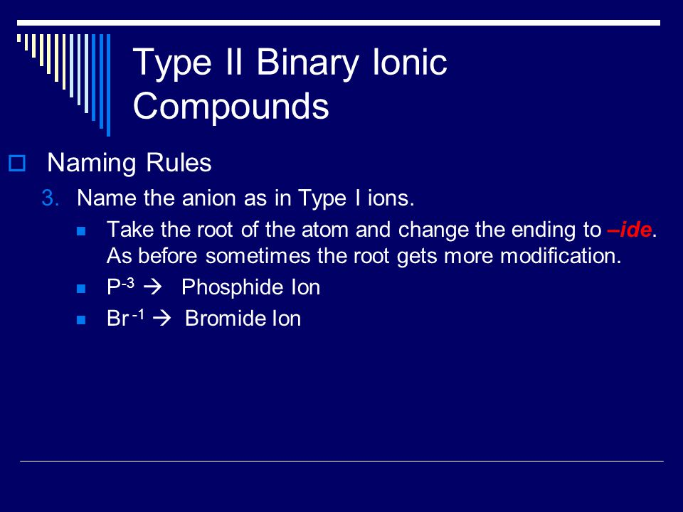Type II Binary Ionic Compounds  Naming Rules 3.Name the anion as in Type I ions.