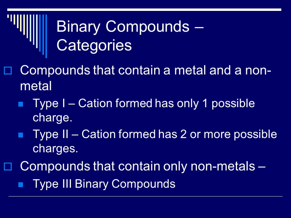 Binary Compounds – Categories  Compounds that contain a metal and a non- metal Type I – Cation formed has only 1 possible charge.