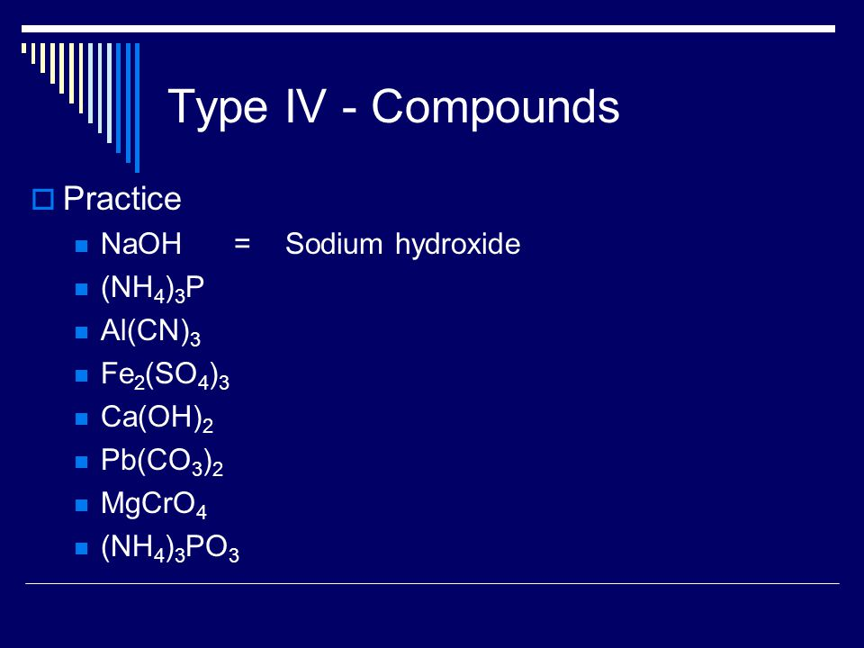 Type IV - Compounds  Practice NaOH = Sodium hydroxide (NH 4 ) 3 P Al(CN) 3 Fe 2 (SO 4 ) 3 Ca(OH) 2 Pb(CO 3 ) 2 MgCrO 4 (NH 4 ) 3 PO 3