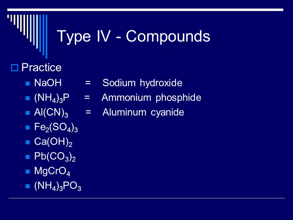 Type IV - Compounds  Practice NaOH = Sodium hydroxide (NH 4 ) 3 P = Ammonium phosphide Al(CN) 3 = Aluminum cyanide Fe 2 (SO 4 ) 3 Ca(OH) 2 Pb(CO 3 ) 2 MgCrO 4 (NH 4 ) 3 PO 3