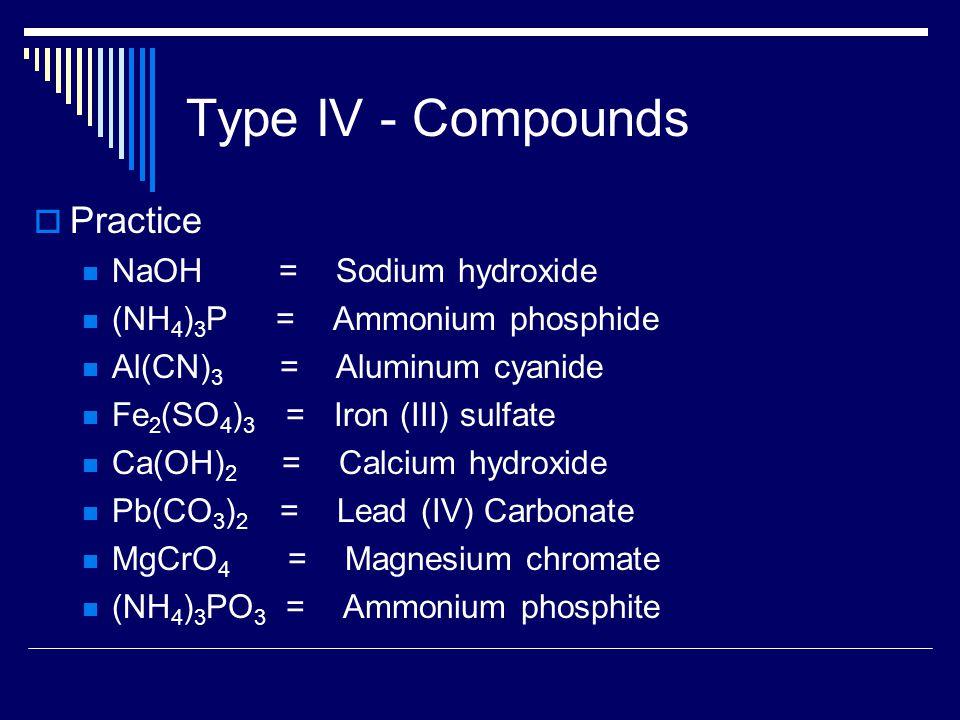 Type IV - Compounds  Practice NaOH = Sodium hydroxide (NH 4 ) 3 P = Ammonium phosphide Al(CN) 3 = Aluminum cyanide Fe 2 (SO 4 ) 3 = Iron (III) sulfate Ca(OH) 2 = Calcium hydroxide Pb(CO 3 ) 2 = Lead (IV) Carbonate MgCrO 4 = Magnesium chromate (NH 4 ) 3 PO 3 = Ammonium phosphite