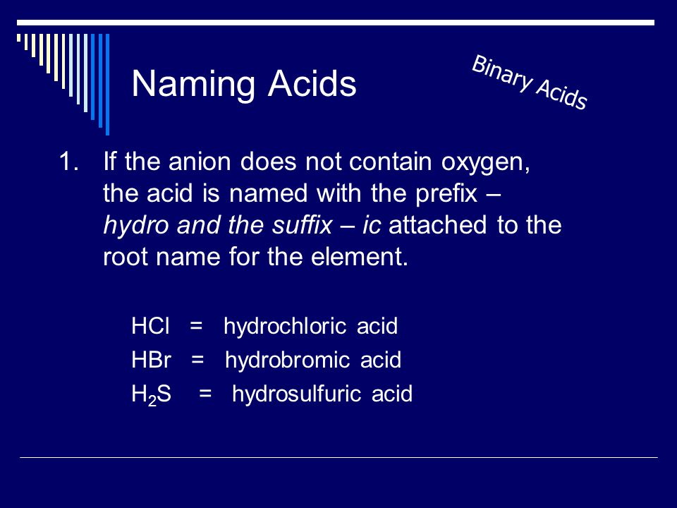 Naming Acids 1.If the anion does not contain oxygen, the acid is named with the prefix – hydro and the suffix – ic attached to the root name for the element.