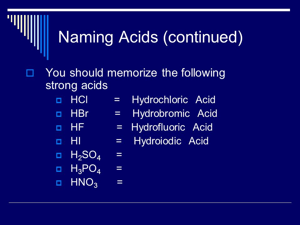 Naming Acids (continued)  You should memorize the following strong acids  HCl = Hydrochloric Acid  HBr = Hydrobromic Acid  HF = Hydrofluoric Acid  HI = Hydroiodic Acid  H 2 SO 4 =  H 3 PO 4 =  HNO 3 =