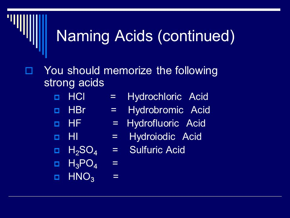 Naming Acids (continued)  You should memorize the following strong acids  HCl = Hydrochloric Acid  HBr = Hydrobromic Acid  HF = Hydrofluoric Acid  HI = Hydroiodic Acid  H 2 SO 4 = Sulfuric Acid  H 3 PO 4 =  HNO 3 =