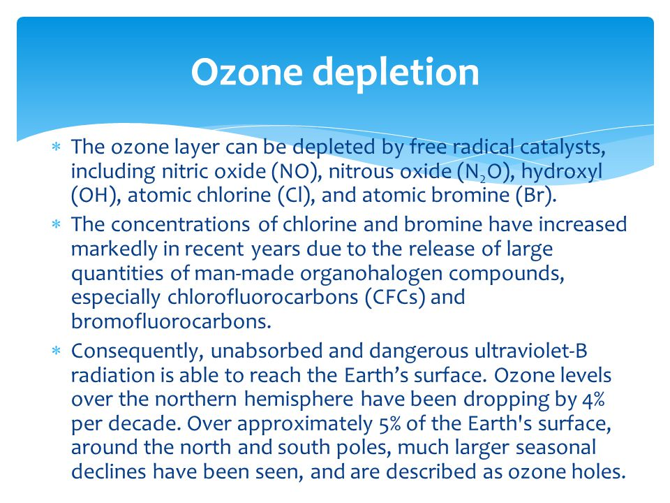  The ozone layer can be depleted by free radical catalysts, including nitric oxide (NO), nitrous oxide (N 2 O), hydroxyl (OH), atomic chlorine (Cl), and atomic bromine (Br).