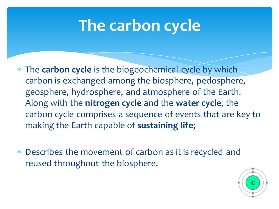  The carbon cycle is the biogeochemical cycle by which carbon is exchanged among the biosphere, pedosphere, geosphere, hydrosphere, and atmosphere of the Earth.